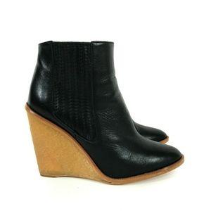 Zara Woman Wedge Heel Chelsea Ankle Boot Leather 9
